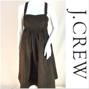 J Crew %100 Silk Brown Cross Back Dress